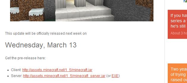 Minecraft Minecraft server update