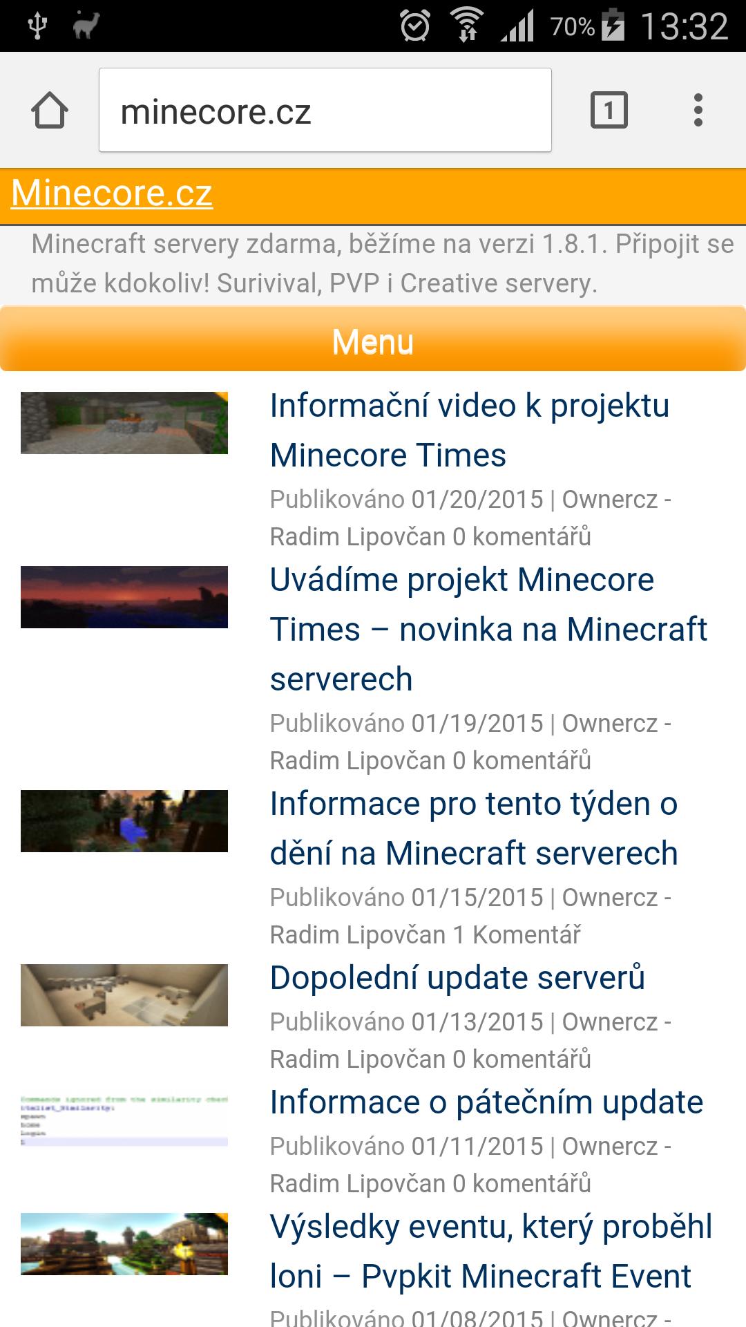 Úvodní stránka Minecore.cz pro malé Minecraftí obrazovky!